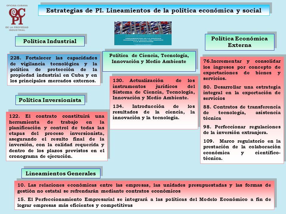 Estrategias de PI. Lineamientos de la política económica y social 228. Fortalecer las capacidades de vigilancia tecnológica y la política de protecció