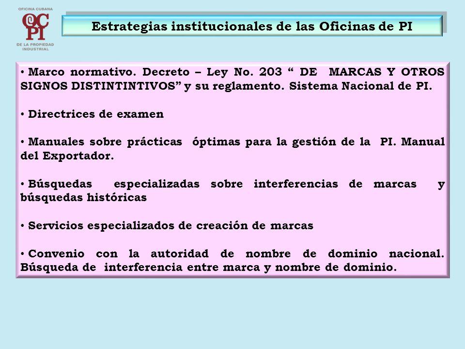 Estrategias institucionales de las Oficinas de PI Marco normativo. Decreto – Ley No. 203 DE MARCAS Y OTROS SIGNOS DISTINTINTIVOS y su reglamento. Sist