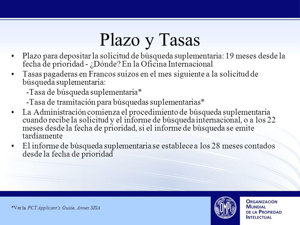 Plazo y Tasas Plazo para depositar la solicitud de búsqueda suplementaria: 19 meses desde la fecha de prioridad - ¿Dónde? En la Oficina Internacional