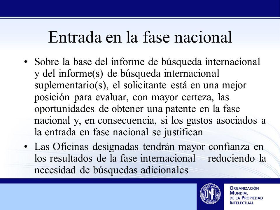 Entrada en la fase nacional Sobre la base del informe de búsqueda internacional y del informe(s) de búsqueda internacional suplementario(s), el solici