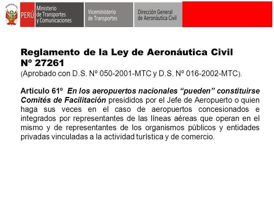 Reglamento de la Ley de Aeronáutica Civil Nº 27261 ( Aprobado con D.S. Nº 050-2001-MTC y D.S. Nº 016-2002-MTC ). Artículo 61º En los aeropuertos nacio