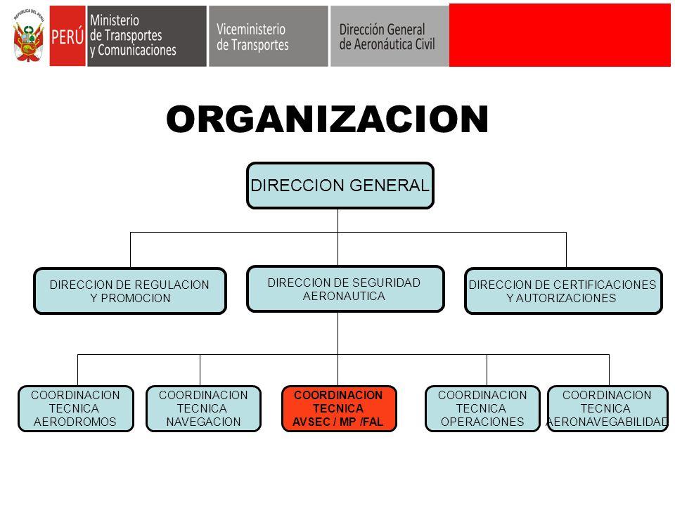 ORGANIZACION DIRECCION GENERAL DIRECCION DE REGULACION Y PROMOCION DIRECCION DE SEGURIDAD AERONAUTICA DIRECCION DE CERTIFICACIONES Y AUTORIZACIONES CO
