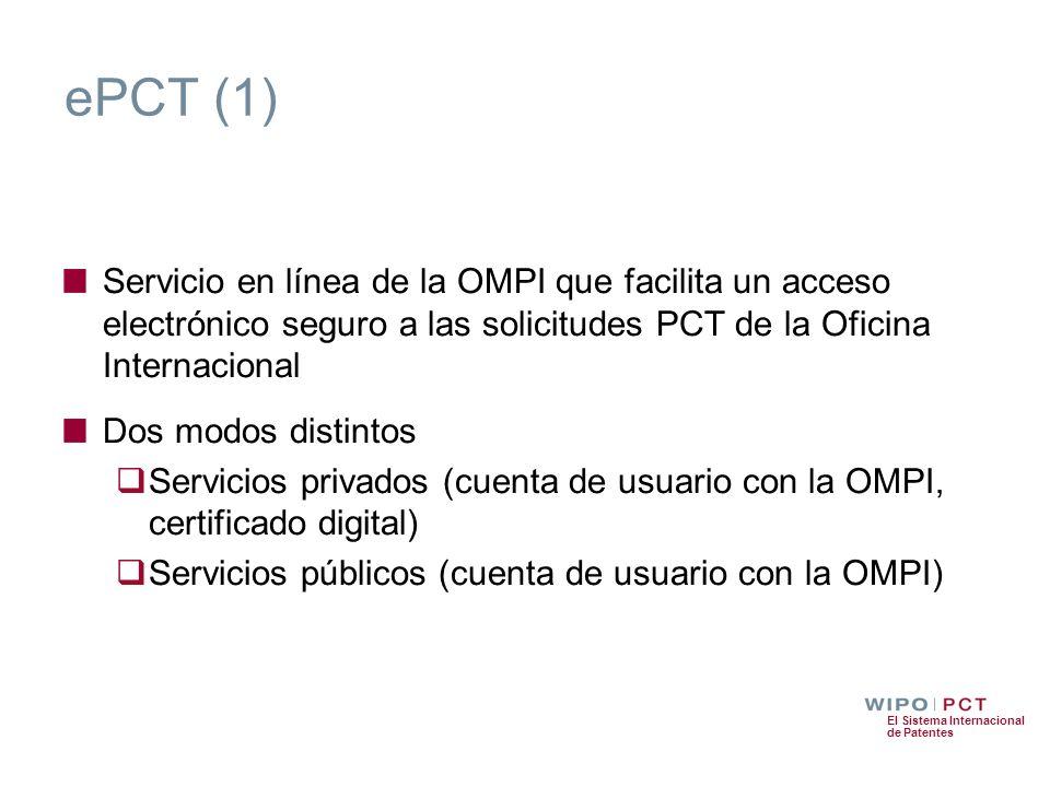 El Sistema Internacional de Patentes ePCT (1) Servicio en línea de la OMPI que facilita un acceso electrónico seguro a las solicitudes PCT de la Ofici