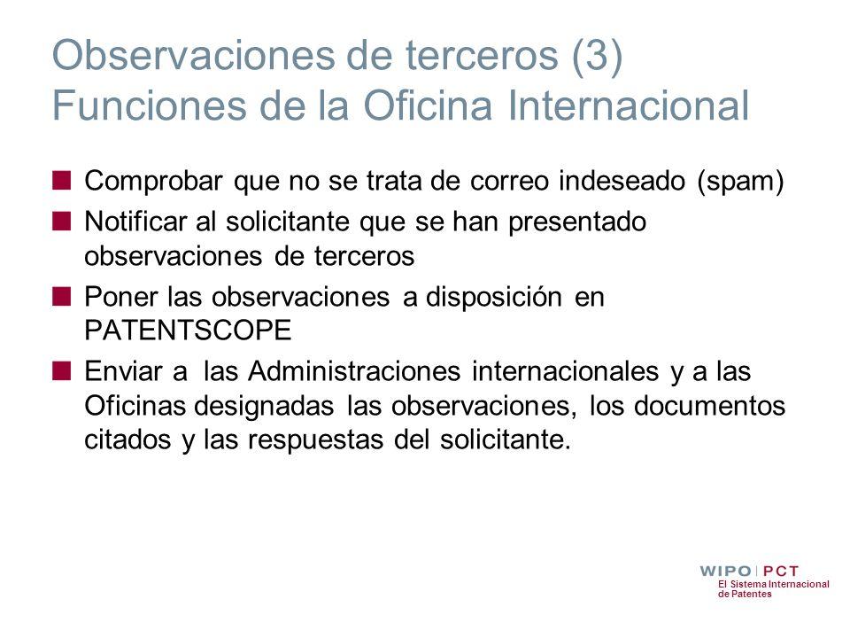 El Sistema Internacional de Patentes Observaciones de terceros (3) Funciones de la Oficina Internacional Comprobar que no se trata de correo indeseado