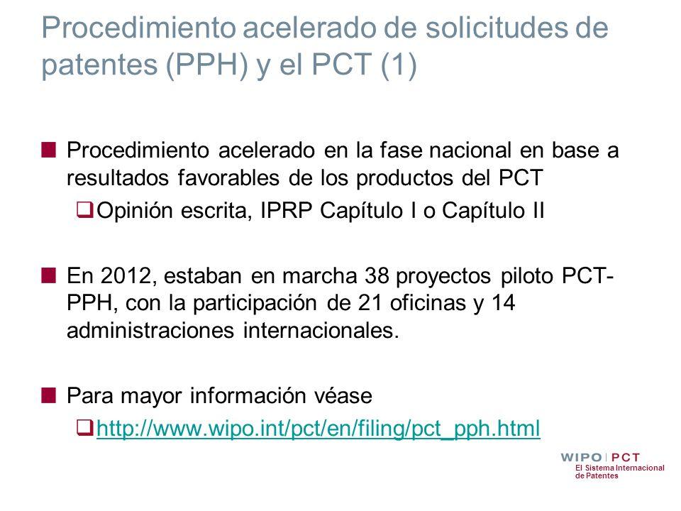 El Sistema Internacional de Patentes Procedimiento acelerado de solicitudes de patentes (PPH) y el PCT (1) Procedimiento acelerado en la fase nacional