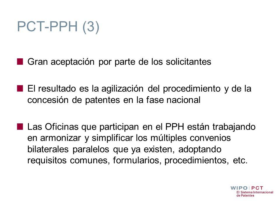 El Sistema Internacional de Patentes PCT-PPH (3) Gran aceptación por parte de los solicitantes El resultado es la agilización del procedimiento y de l