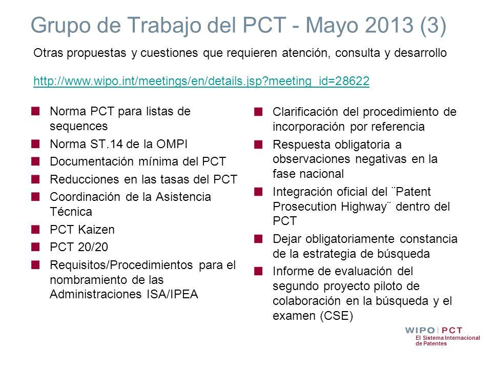 El Sistema Internacional de Patentes Grupo de Trabajo del PCT - Mayo 2013 (3) Norma PCT para listas de sequences Norma ST.14 de la OMPI Documentación