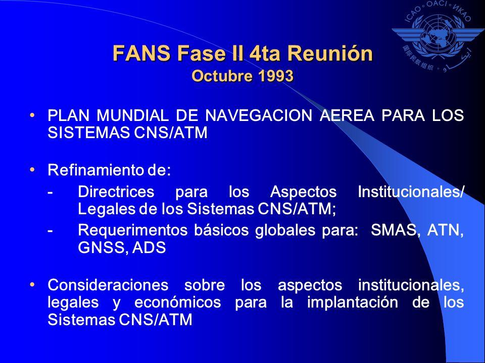 FANS Fase II 4ta Reunión Octubre 1993 PLAN MUNDIAL DE NAVEGACION AEREA PARA LOS SISTEMAS CNS/ATM Refinamiento de: - Directrices para los Aspectos Inst