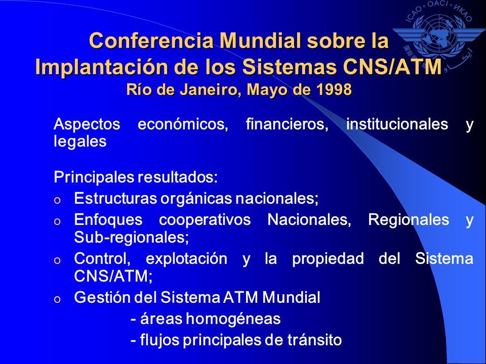 Conferencia Mundial sobre la Implantación de los Sistemas CNS/ATM Río de Janeiro, Mayo de 1998 Aspectos económicos, financieros, institucionales y leg