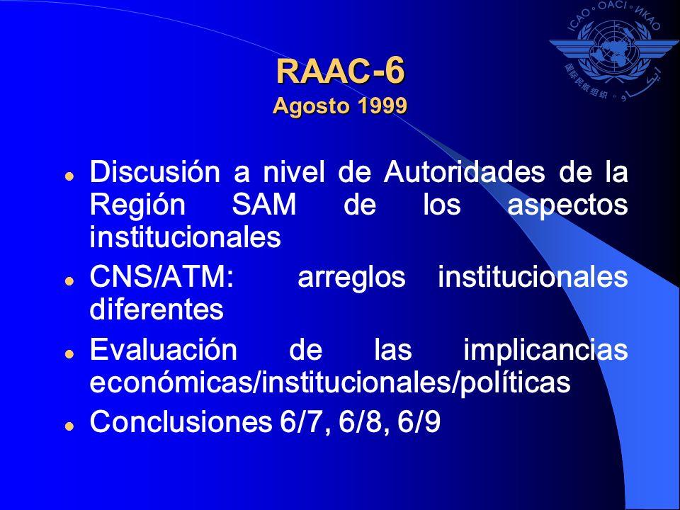 RAAC -6 Agosto 1999 Discusión a nivel de Autoridades de la Región SAM de los aspectos institucionales CNS/ATM: arreglos institucionales diferentes Eva