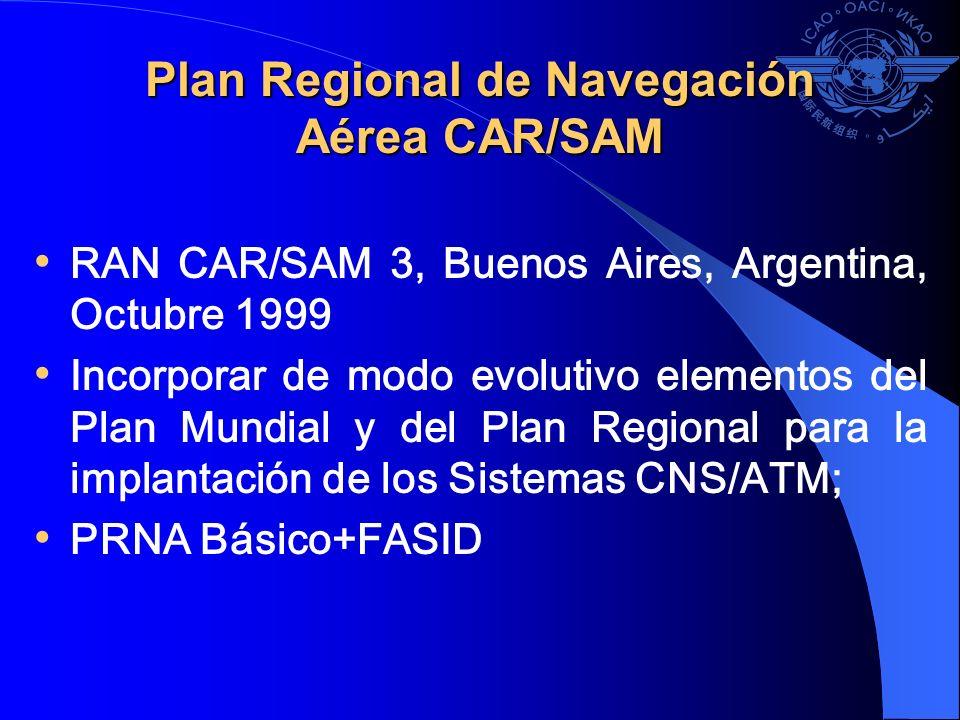 Plan Regional de Navegación Aérea CAR/SAM RAN CAR/SAM 3, Buenos Aires, Argentina, Octubre 1999 Incorporar de modo evolutivo elementos del Plan Mundial