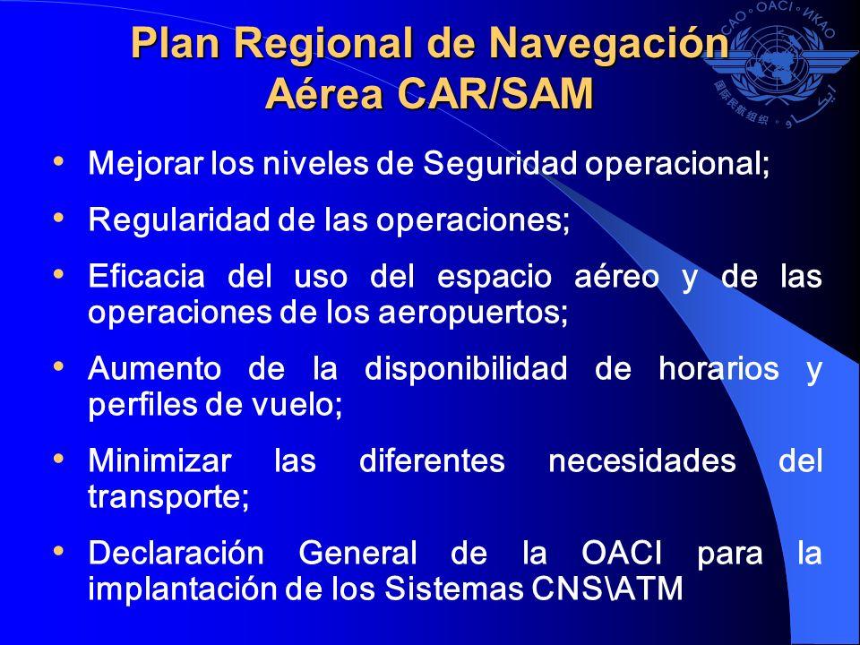 Mejorar los niveles de Seguridad operacional; Regularidad de las operaciones; Eficacia del uso del espacio aéreo y de las operaciones de los aeropuert