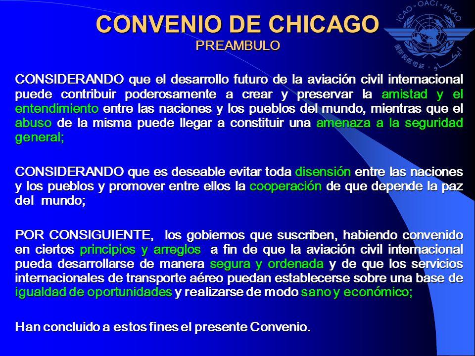 CONVENIO DE CHICAGO Artículo 1 Soberanía Los Estados contratantes reconocen que todo Estado tiene soberanía plena y exclusiva en el espacio aéreo situado sobre su territorio.