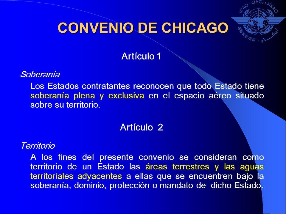 CONVENIO DE CHICAGO Artículo 1 Soberanía Los Estados contratantes reconocen que todo Estado tiene soberanía plena y exclusiva en el espacio aéreo situ