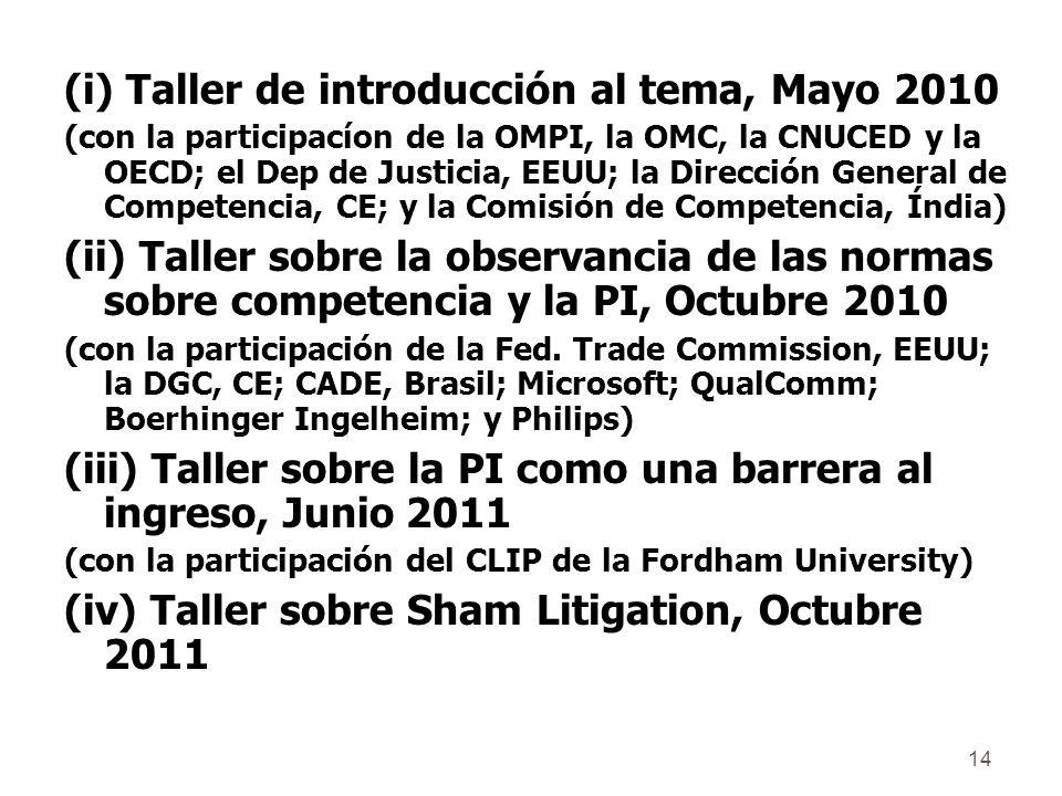 14 (i) Taller de introducción al tema, Mayo 2010 (con la participacíon de la OMPI, la OMC, la CNUCED y la OECD; el Dep de Justicia, EEUU; la Dirección General de Competencia, CE; y la Comisión de Competencia, Índia) (ii) Taller sobre la observancia de las normas sobre competencia y la PI, Octubre 2010 (con la participación de la Fed.
