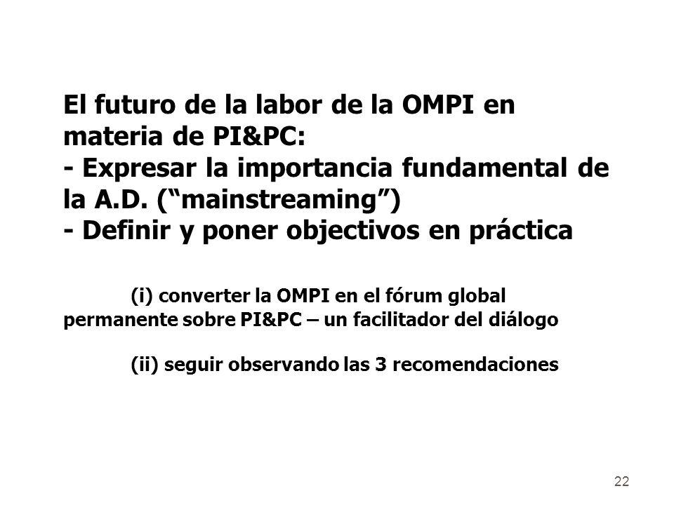 22 El futuro de la labor de la OMPI en materia de PI&PC: - Expresar la importancia fundamental de la A.D.