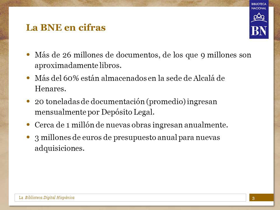 La Biblioteca Digital Hispánica La BNE en cifras Más de 26 millones de documentos, de los que 9 millones son aproximadamente libros. Más del 60% están
