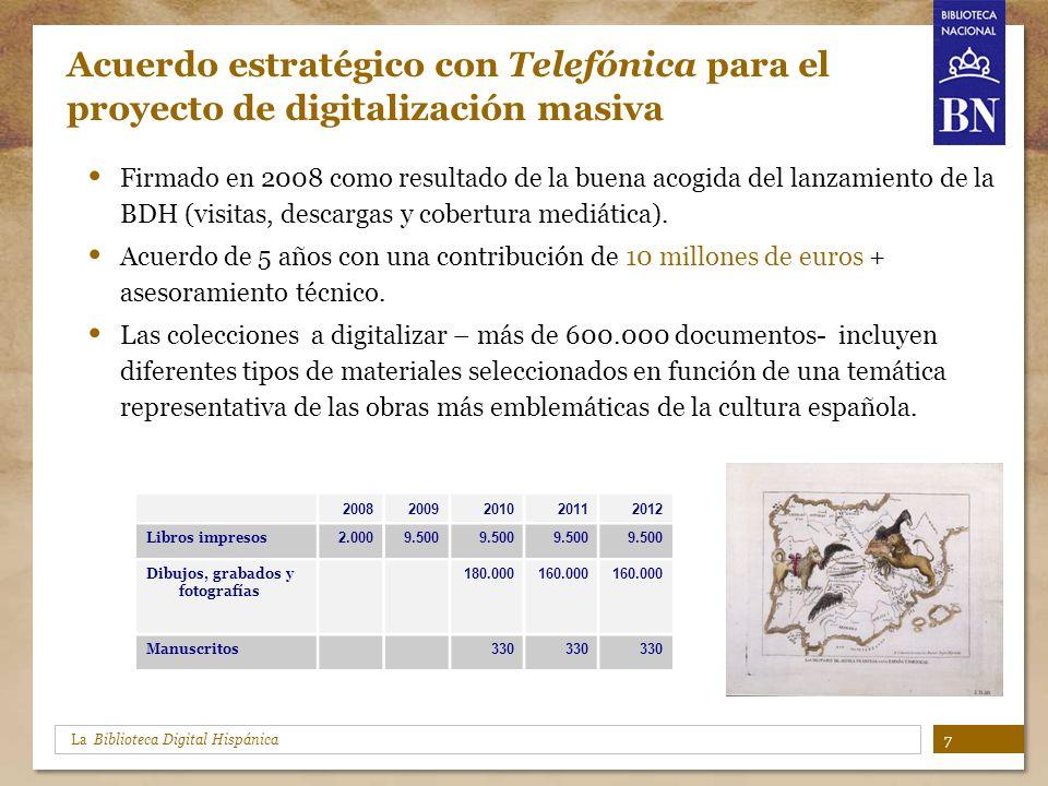 La Biblioteca Digital Hispánica Acuerdo estratégico con Telefónica para el proyecto de digitalización masiva Firmado en 2008 como resultado de la buen
