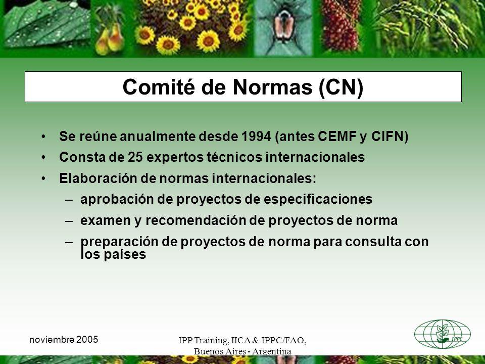 IPP Training, IICA & IPPC/FAO, Buenos Aires - Argentina noviembre 2005 Comité de Normas (CN) Se reúne anualmente desde 1994 (antes CEMF y CIFN) Consta