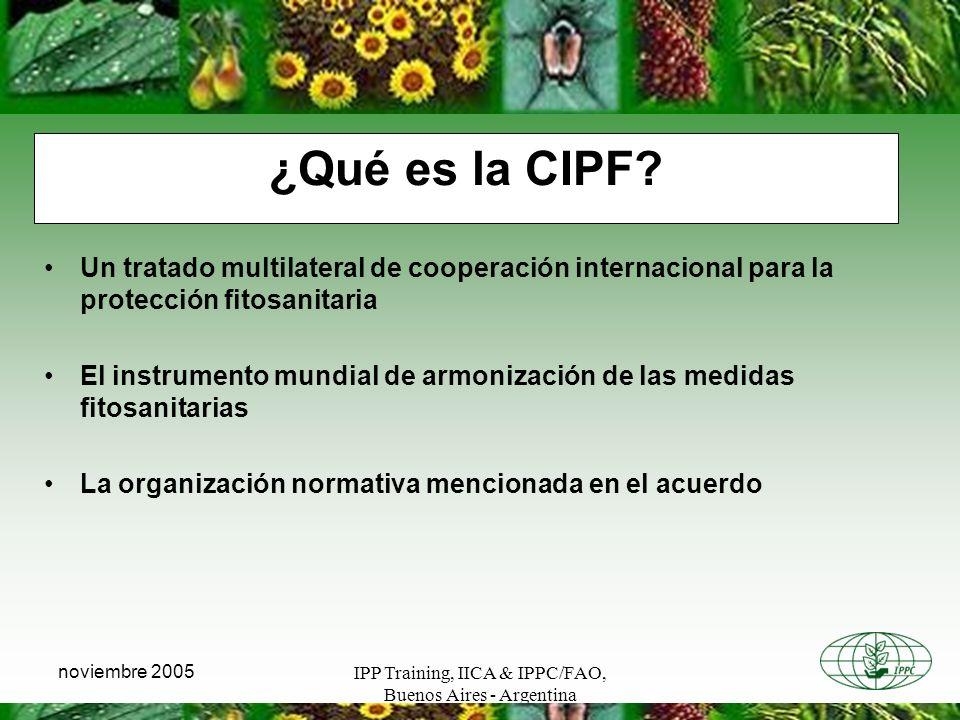 IPP Training, IICA & IPPC/FAO, Buenos Aires - Argentina noviembre 2005 ¿Qué es la CIPF? Un tratado multilateral de cooperación internacional para la p