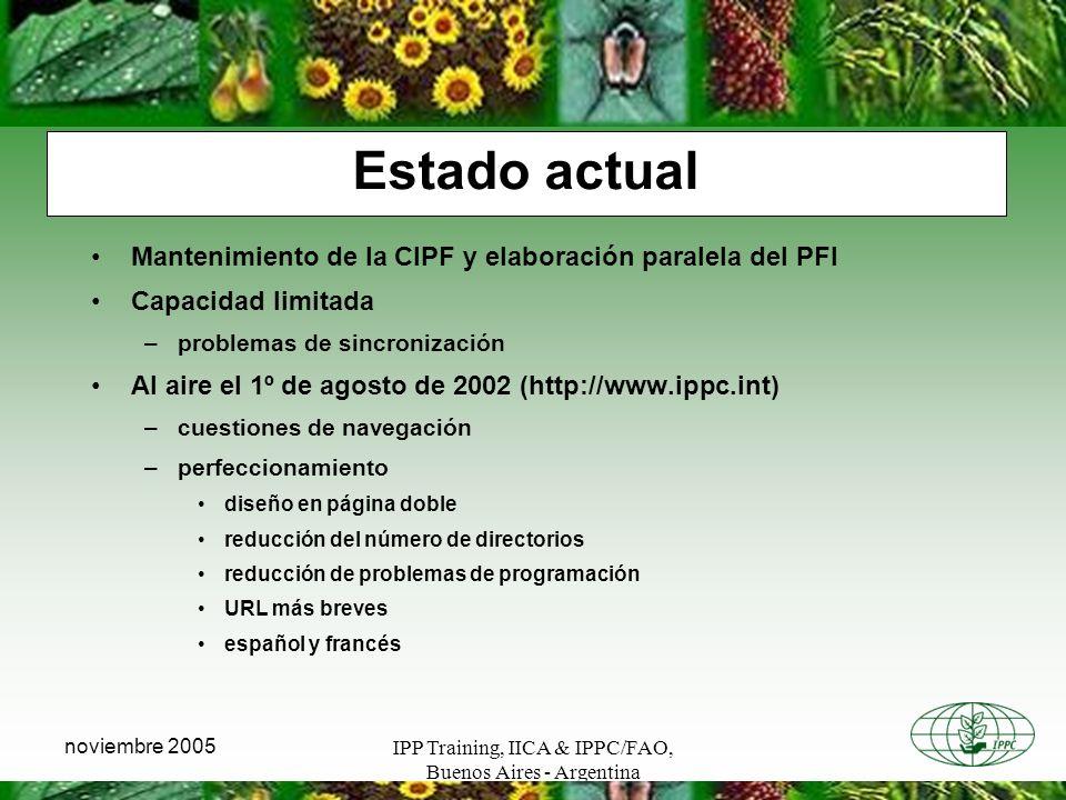 IPP Training, IICA & IPPC/FAO, Buenos Aires - Argentina noviembre 2005 Estado actual Mantenimiento de la CIPF y elaboración paralela del PFI Capacidad