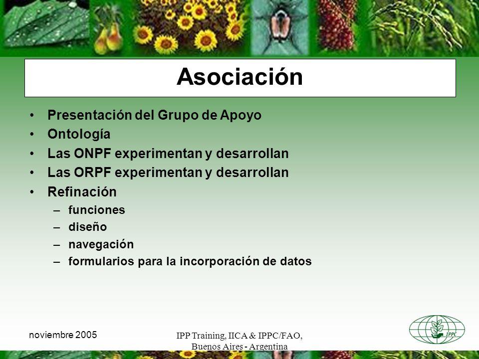 IPP Training, IICA & IPPC/FAO, Buenos Aires - Argentina noviembre 2005 Asociación Presentación del Grupo de Apoyo Ontología Las ONPF experimentan y de