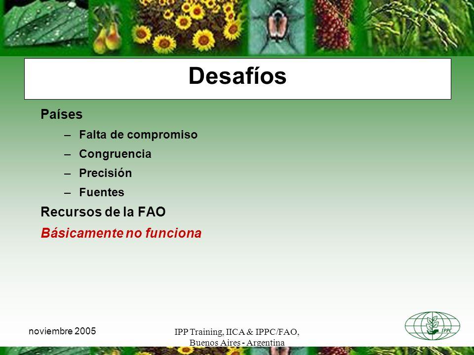 IPP Training, IICA & IPPC/FAO, Buenos Aires - Argentina noviembre 2005 Desafíos Países –Falta de compromiso –Congruencia –Precisión –Fuentes Recursos