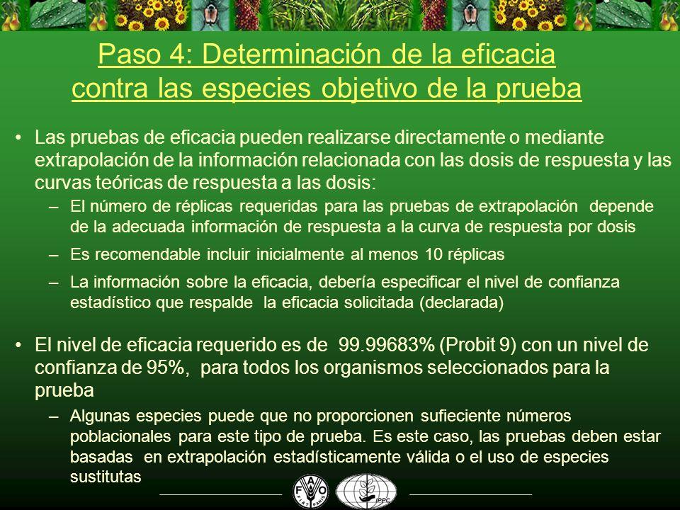 Paso 4: Determinación de la eficacia contra las especies objetivo de la prueba Las pruebas de eficacia pueden realizarse directamente o mediante extra