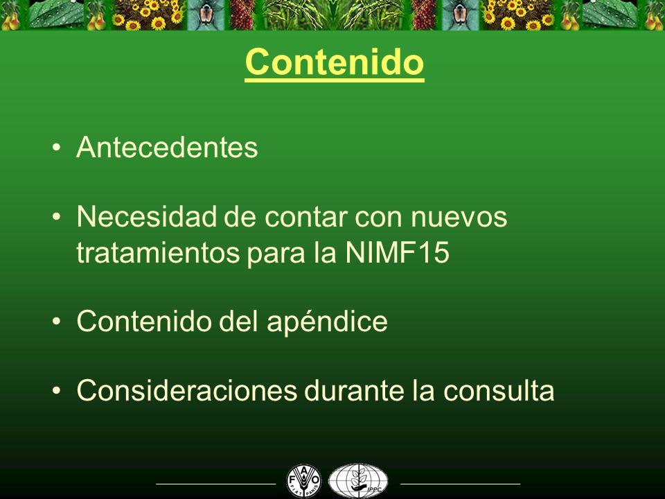 Contenido Antecedentes Necesidad de contar con nuevos tratamientos para la NIMF15 Contenido del apéndice Consideraciones durante la consulta