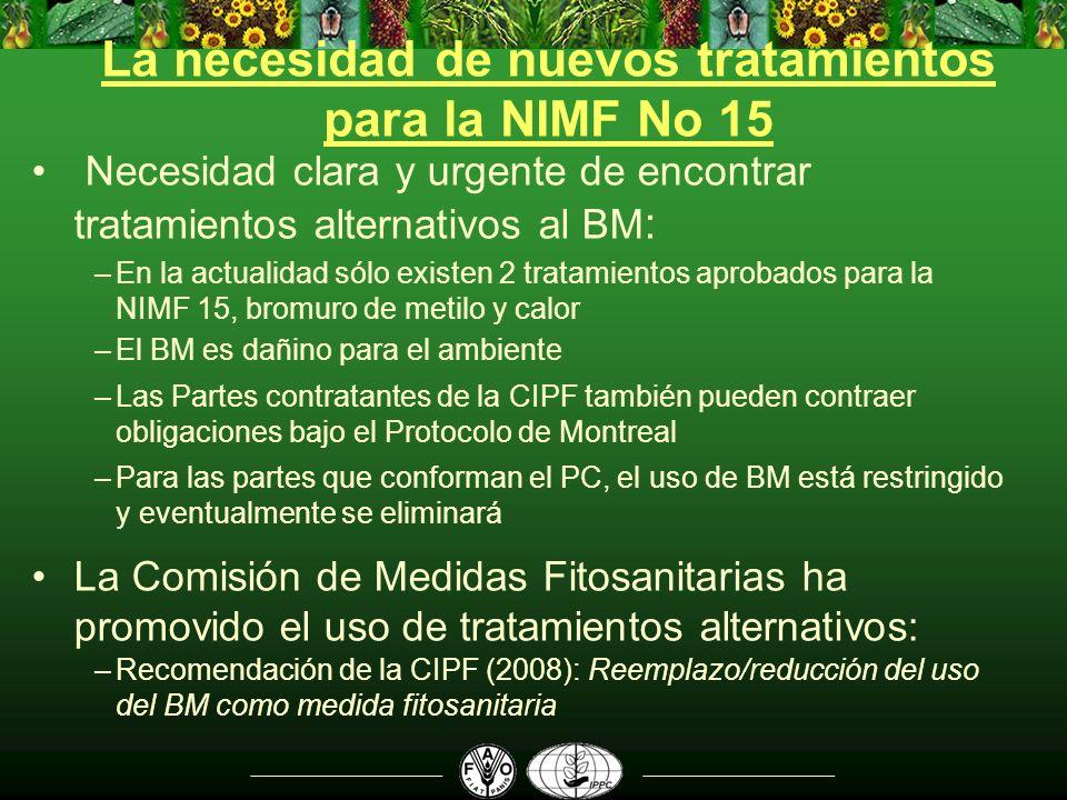 La necesidad de nuevos tratamientos para la NIMF No 15 Necesidad clara y urgente de encontrar tratamientos alternativos al BM : –En la actualidad sólo