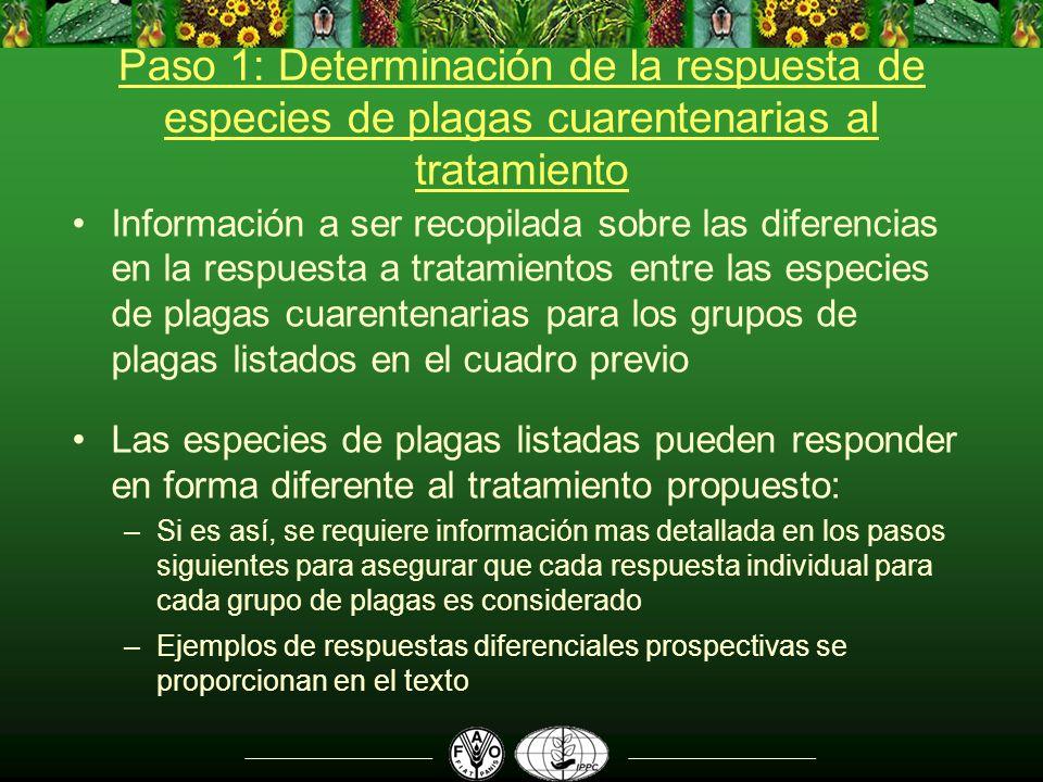 Paso 1: Determinación de la respuesta de especies de plagas cuarentenarias al tratamiento Información a ser recopilada sobre las diferencias en la res