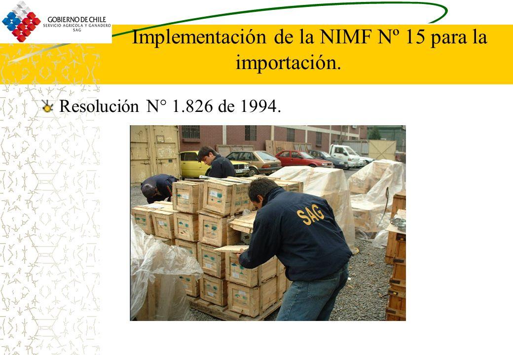 Implementación de la NIMF Nº 15 para la importación. Resolución N° 1.826 de 1994.