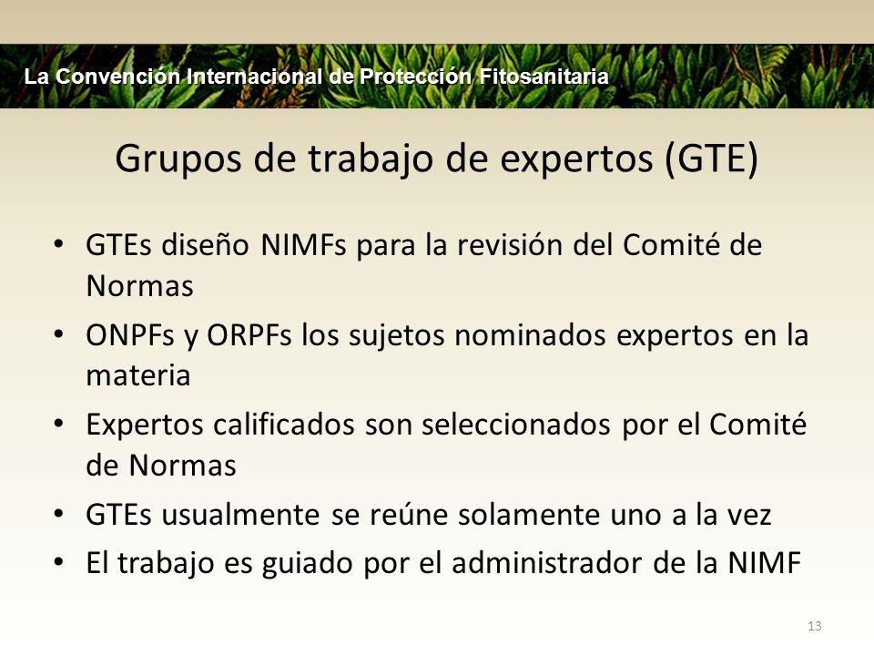 Grupos de trabajo de expertos (GTE) GTEs diseño NIMFs para la revisión del Comité de Normas ONPFs y ORPFs los sujetos nominados expertos en la materia