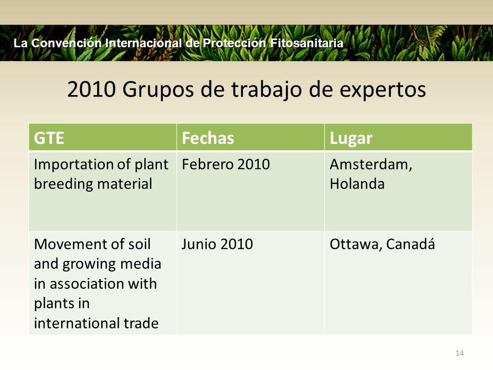 2010 Grupos de trabajo de expertos 14 La Convención Internacional de Protección Fitosanitaria GTEFechasLugar Importation of plant breeding material Fe