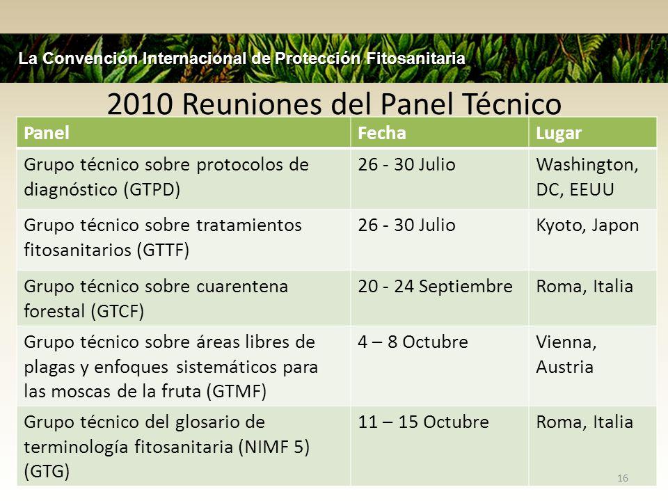 2010 Reuniones del Panel Técnico PanelFechaLugar Grupo técnico sobre protocolos de diagnóstico (GTPD) 26 - 30 JulioWashington, DC, EEUU Grupo técnico