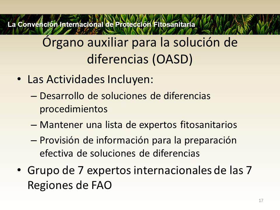 Órgano auxiliar para la solución de diferencias (OASD) Las Actividades Incluyen: – Desarrollo de soluciones de diferencias procedimientos – Mantener u