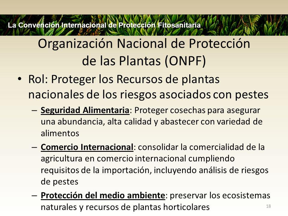 Organización Nacional de Protección de las Plantas (ONPF) Rol: Proteger los Recursos de plantas nacionales de los riesgos asociados con pestes – Segur