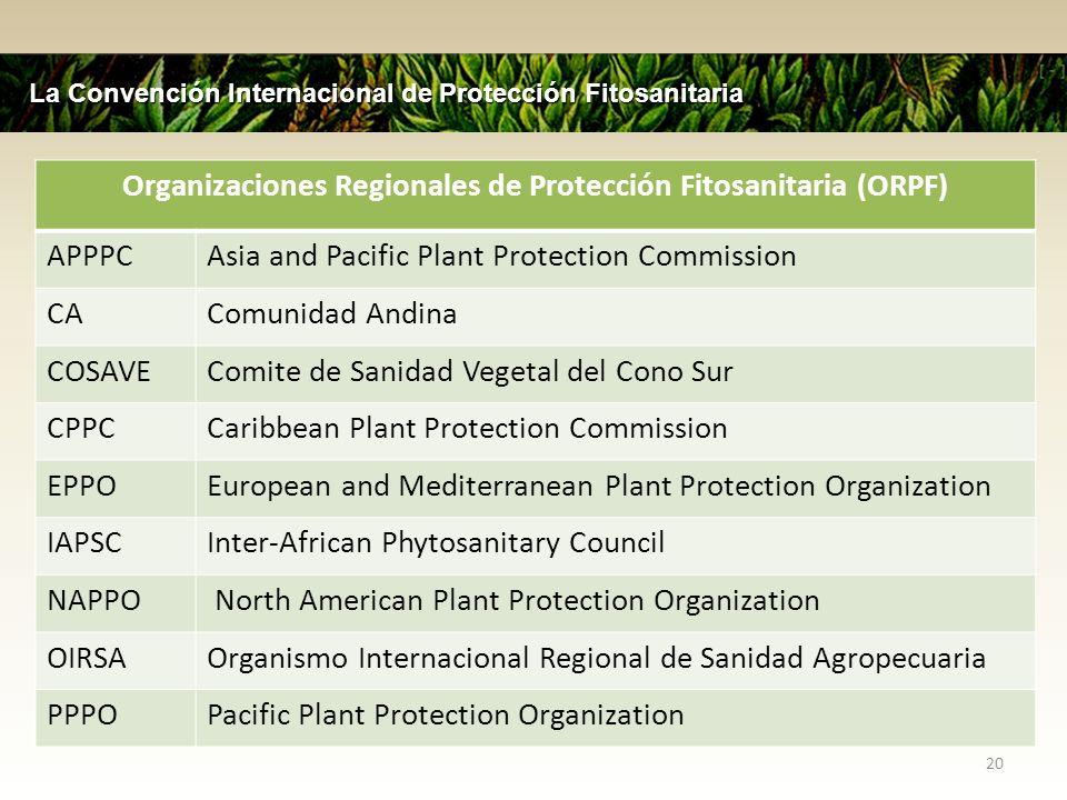 20 La Convención Internacional de Protección Fitosanitaria Organizaciones Regionales de Protección Fitosanitaria (ORPF) APPPCAsia and Pacific Plant Pr