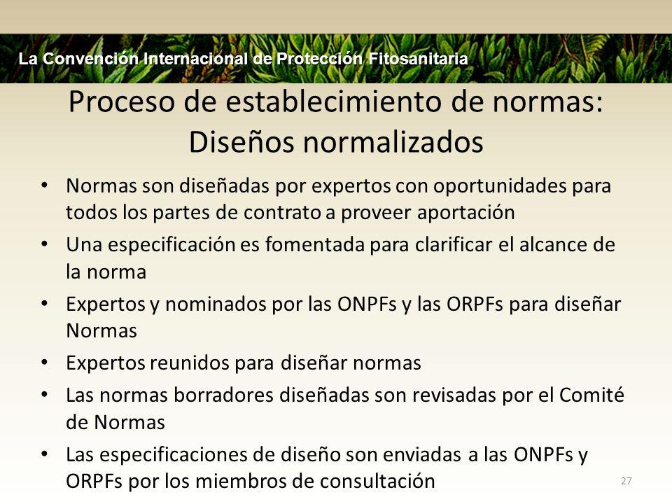 Proceso de establecimiento de normas: Diseños normalizados Normas son diseñadas por expertos con oportunidades para todos los partes de contrato a pro