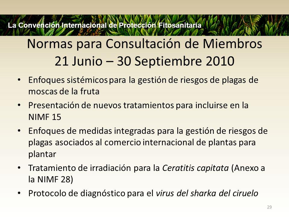 Normas para Consultación de Miembros 21 Junio – 30 Septiembre 2010 Enfoques sistémicos para la gestión de riesgos de plagas de moscas de la fruta Pres