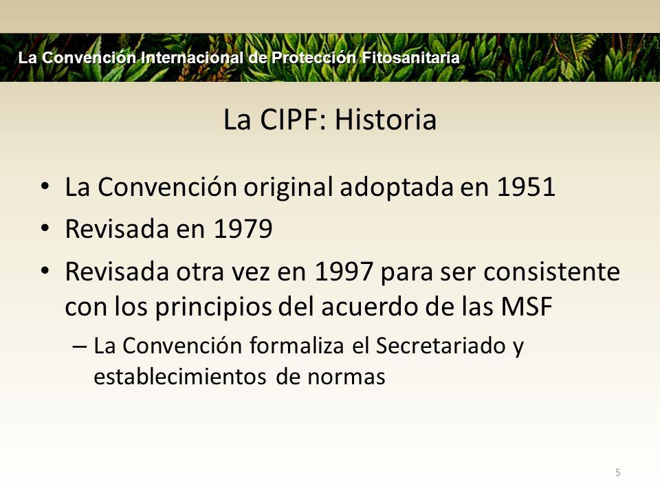 La CIPF y el Acuerdo MSF La CIPF es una de las tres hermanas del establecimiento de las normas internacionales reconocidas por el acuerdo MFS : Codex, OIE, CIPF Miembros se basaran en sus fitosanitarios medidos en normas internacionales o justifique desviaciones por medio del análisis de riesgos Miembros deberán ser parte completamente en el establecimiento de normas relevantes de la organización 6 La Convención Internacional de Protección Fitosanitaria