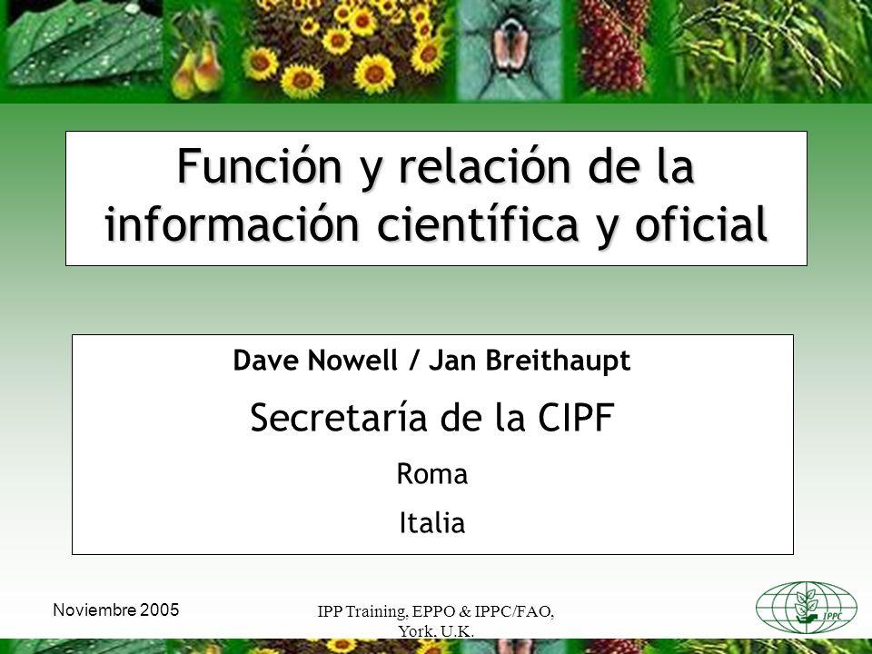 IPP Training, EPPO & IPPC/FAO, York, U.K.