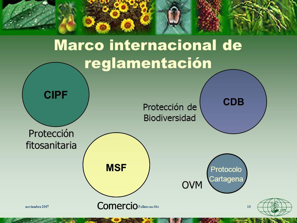 noviembre 2007Folleto no.04c10 CIPF MSF CDB Marco internacional de reglamentación Comercio OVM Protección de Biodiversidad Protección fitosanitaria Pr