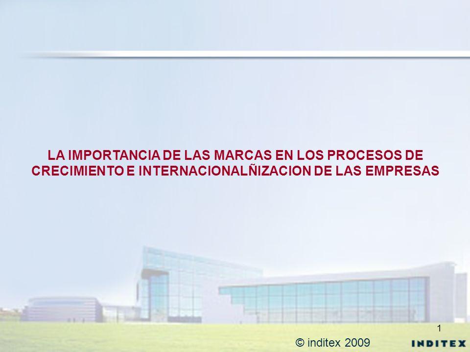 1 © inditex 2009 LA IMPORTANCIA DE LAS MARCAS EN LOS PROCESOS DE CRECIMIENTO E INTERNACIONALÑIZACION DE LAS EMPRESAS