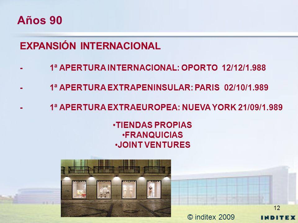 12 © inditex 2009 Años 90 EXPANSIÓN INTERNACIONAL - 1ª APERTURA INTERNACIONAL: OPORTO 12/12/1.988 -1ª APERTURA EXTRAPENINSULAR: PARIS 02/10/1.989 -1ª