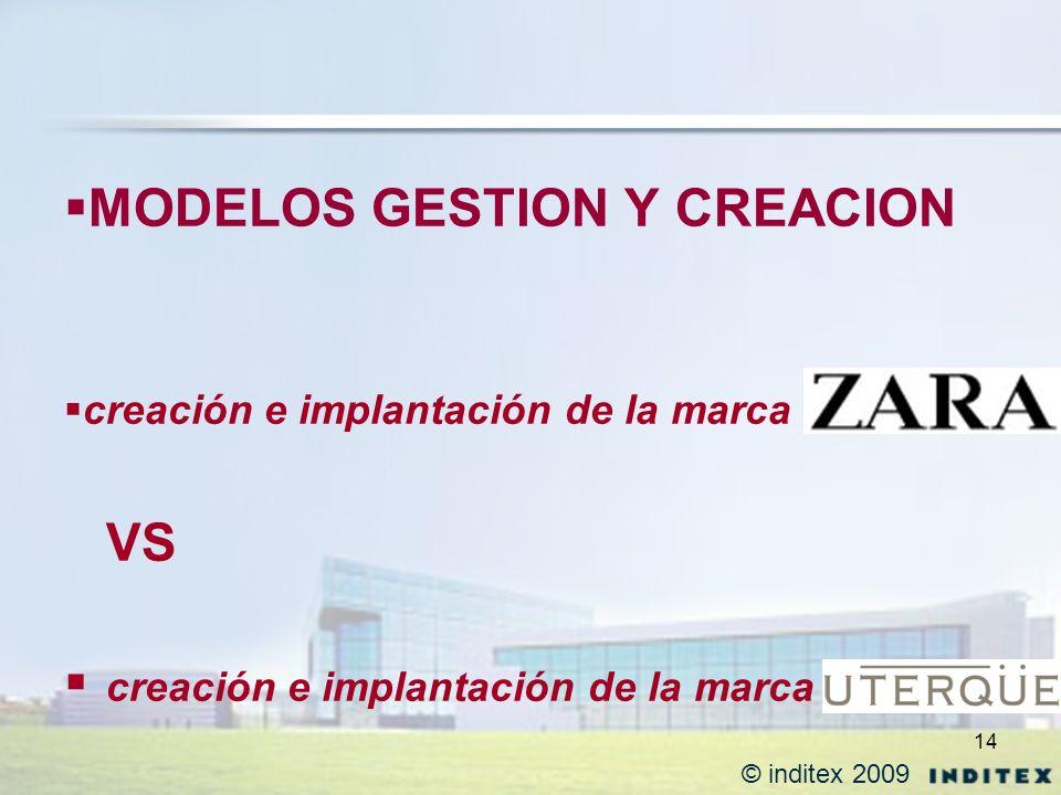 14 MODELOS GESTION Y CREACION creación e implantación de la marca VS creación e implantación de la marca © inditex 2009