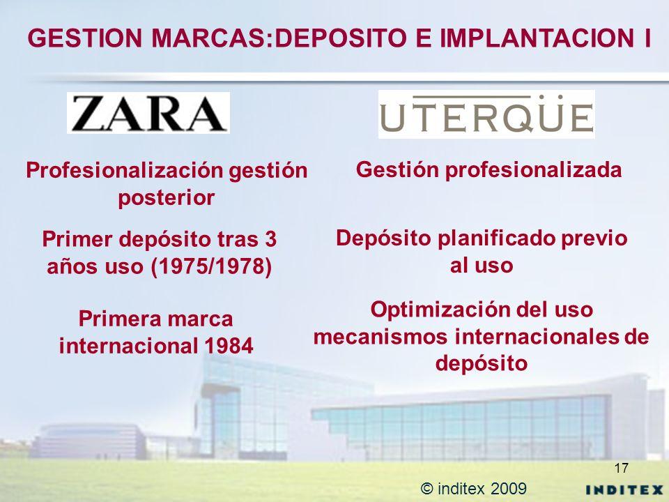 17 © inditex 2009 GESTION MARCAS:DEPOSITO E IMPLANTACION I Primer depósito tras 3 años uso (1975/1978) Depósito planificado previo al uso Primera marc