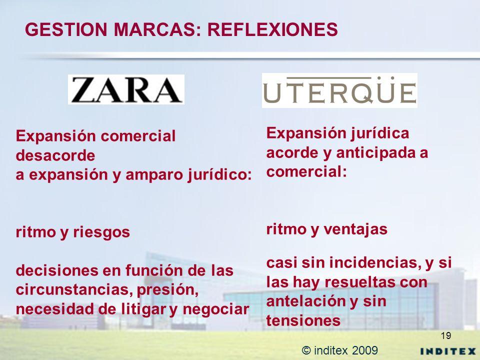19 © inditex 2009 GESTION MARCAS: REFLEXIONES Expansión jurídica acorde y anticipada a comercial: ritmo y ventajas casi sin incidencias, y si las hay