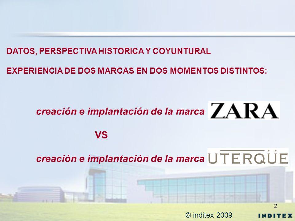 2 © inditex 2009 DATOS, PERSPECTIVA HISTORICA Y COYUNTURAL EXPERIENCIA DE DOS MARCAS EN DOS MOMENTOS DISTINTOS: creación e implantación de la marca VS