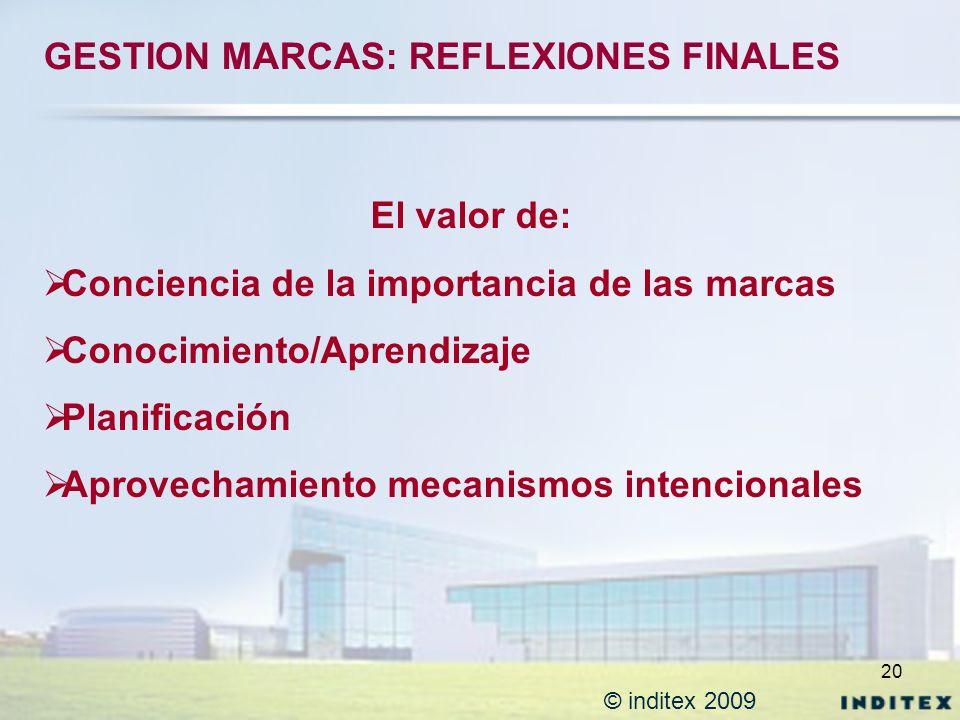 20 © inditex 2009 El valor de: Conciencia de la importancia de las marcas Conocimiento/Aprendizaje Planificación Aprovechamiento mecanismos intenciona